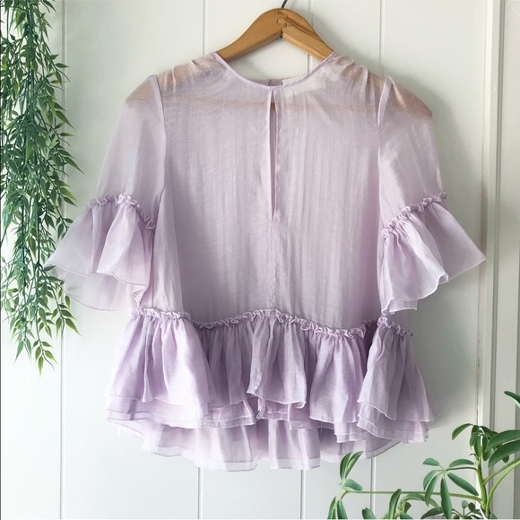 H Amp M Tops Hm Conscious Exclusive Lavender Sheer Ruffle